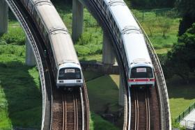 File photo of MRT trains leaving Buona Vista station.