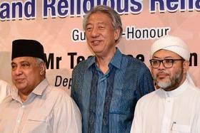 Mr Teo Chee hean at yesterday's break fast event.