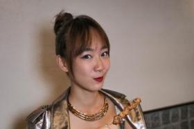 Actress Julie Tan at Sumire Yakitori House.