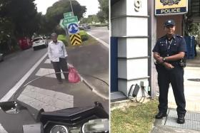 A still from the Facebook video and Police second sergeant Mohd Elfie Mohd Amin, 30, at Changi Neighbourhood Police Centre.
