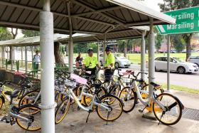 Shared bikes block path in Woodlands