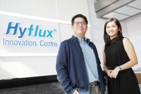 Hyflux senior vice-president of human resource (HR) Jeremy Tan (left)  and HR manager Daphie Tan (right).