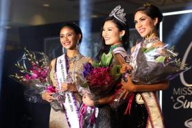 The top three winners of Miss Universe Singapore 2016 competition held at the Grand Copthorne Waterfront Hotel, (from left) first runner-up Tanisha Khan, winner Cheryl Chou and second runner-up Sonya Branson.