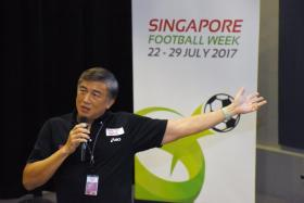 Sport Singapore chief Lim Teck Yin speaking at the launch of Singapore Football Week on 13 July 2017.