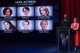 Actors Shemar Moore and Anna Chlumsky present the Emmy nominees.