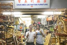 Miss Valerie Ong with Mr Chen Foon Kee, who owns Chun Mee Lee Rattan Furniture.