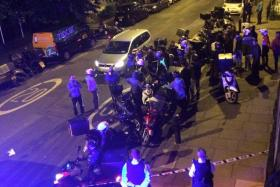 Emergency response following acid attack on the junction of Hackney Road junction with Queensbridge Road, London.