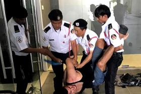 Security guards take down MMA fighter