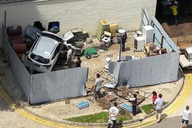 Car crashes into rubbish point at Ang Mo Kio carpark