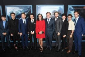 The cast and crew of Dunkirk at the film premiere in the US on July 18.