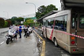 Hospital bus crashes into Braddell Road bus stop