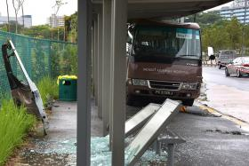 The shuttle bus had crashed into a bus stop along Braddell Road