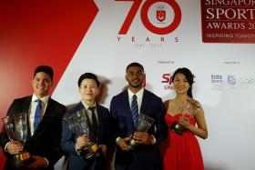 From left: Sportsman of the Year Joseph Schooling, Sportswoman of the Year New Hui Fen, Sportsboy of the Year Sheik Farhan Sheik Alau'ddin and Sportsgirl of the Year Ywen Lau, at the sidelines of the Singapore Sports Awards ceremony at the Ritz Carlton.