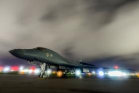 A US Air Force B-1B Lancer bomber sits on the runway at Anderson Air Force Base, Guam