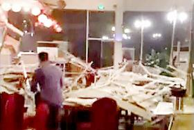 The destruction at the restaurant in the InterContinental Resort Jiuzhai Paradise where Mr Phua Shu Ming and his wife were having dinner.