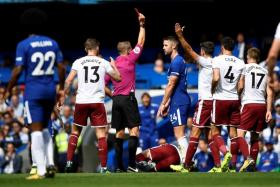 Chelsea's Gary Cahill is sent off during the Blues' 3-2 defeat to Burnley.