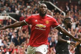 Manchester United's Romelu Lukaku celebrates scoring their second goal