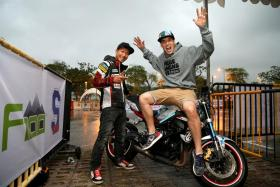 Stunt riders Hiroyuki Ogawa (left) and Julien Welsch (right), along with Aaron Twite, will perform at the event.