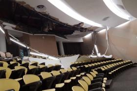 The ceiling of Lecture Theatre 1 at Nanyang Technological University's North Spine collapsed on the morning of Aug 21.