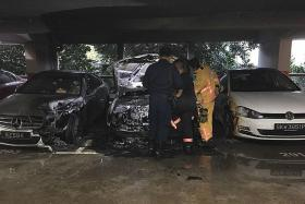 Three vehicles damaged after taxi catches fire in Sengkang