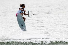 Sasha Christian in action during the Wakeboard held Water Sport Complex