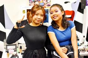 Ms Saifurah (left), with her sister, was one of five winners of the inaugural Sephora X ITE Makeup Competition.