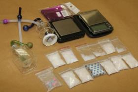 Drugs and drug paraphernalia recovered from CNB operation at Jalan Kayu on Aug 28
