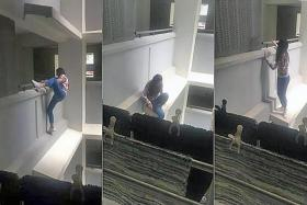 A 21-year-old woman was captured on video climbing over a parapet and crouching on the ledge on the third floor of Block 336B, Anchorvale Crescent. She was reportedly trying to climb into a second-floor unit where her former boyfriend was living.