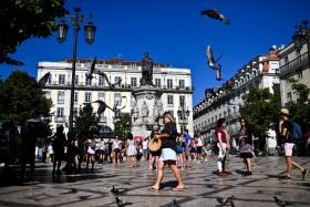 the Camoes Square in Lisbon.