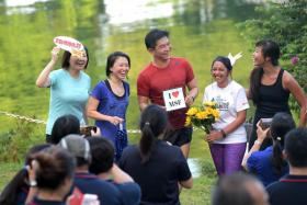 Mr Tan Chuan-Jin at the run at MacRitchie Reservoir yesterday.