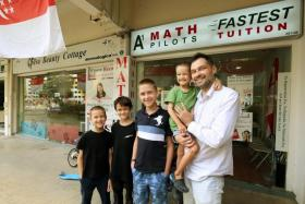 Dr Alexander Kuznetsov of Math Pilots, with his sons (from left) Michael, Ilya, Ivan and Klim.