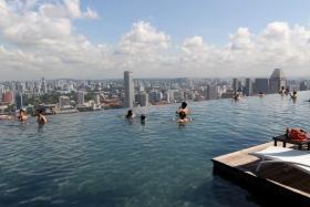 The SkyPark pool at Marina Bay Sands.