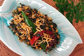 Moringa leaves and dhal stir-fry