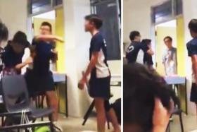 A video of the incident at St Hilda's Secondary School has been shared on Facebook more than 10,000 times after it was posted yesterday.