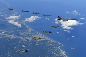 South Korean and American fighter jets on a bombing drill mission over the Korean peninsula.