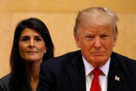 US President Donald Trump and US Ambassador to the UN Nikki Haley.