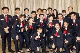 Some of the members of the Singapore team going to Abu Dhabi for the competition.