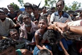 A boy is pulled to safety as Rohingya refugees scuffle, while queueing for aid at Cox's Bazar in Bangladesh.