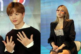 Yook Sung Jae (left) and CL at the event yesterday.