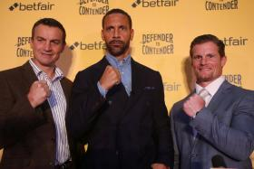 Richie Woodhall, Rio Ferdinand and Mel Deane pose after the press conference