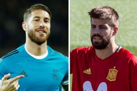 Spain captain Sergio Ramos (left) was not the only Spaniard riled by Gerard Pique's (right) tweet in support of the Catalonia independence referendum.