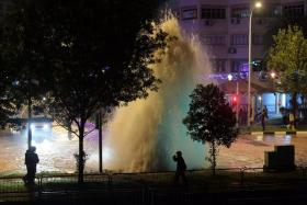 A pipe leak sent up a fountain of water at the junction of Bukit Batok West Avenue 6 and Bukit Batok West Avenue 8 on the night of Sept 26, 2017.