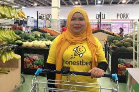 She helps others shop for groceries
