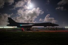 Two B-1B Lancers based in Guam flew a mission in the vicinity of the Sea of Japan late on Tuesday.