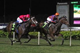 The well-fancied newcomer Sky Rocket (No. 7) leading all the way to beat $192 outsider Black Quail in Race 2 at Kranji last night.