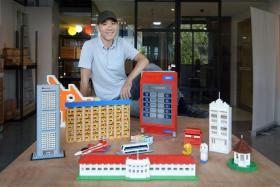 Mr Jeffrey Kong with some of his Lego creations.
