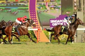 Lim's Magic fends off Humdinger (No. 3) in the last race at Kranji on Sunday.