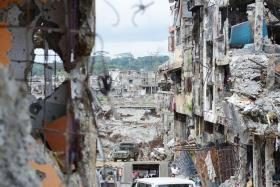 Bombed-out buildings in Marawi.