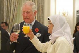 Prince Charles and President Halimah Yacob at the Istana.