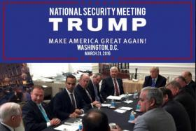 George Papadopoulos (third from left) in a photograph released on US president Donald Trump's Instagram on April 1, last year with a headline saying it was taken during a campaign national security meeting in Washington chaired by Mr Trump.